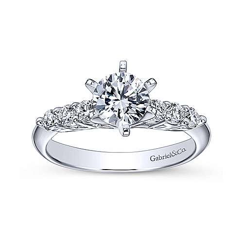 Billie 14k White Gold Round Straight Engagement Ring angle 5