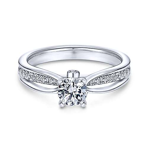 Gabriel - Birdie 14k White Gold Round Split Shank Engagement Ring