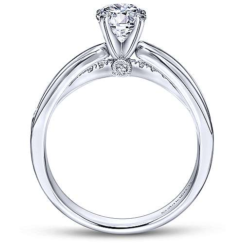 Birdie 14k White Gold Round Split Shank Engagement Ring