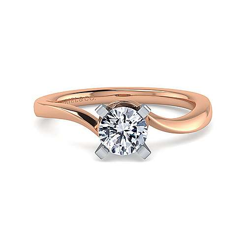 Gabriel - Blair 14k White And Rose Gold Round Solitaire Engagement Ring