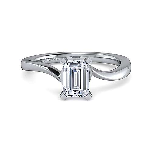 Gabriel - Blair 14k White Gold Emerald Cut Solitaire Engagement Ring