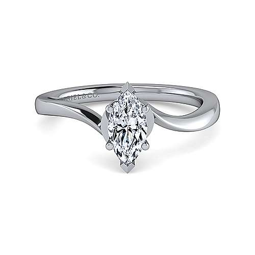 Gabriel - Blair 14k White Gold Marquise  Solitaire Engagement Ring