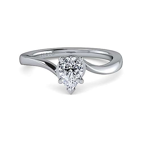 Gabriel - Blair 14k White Gold Pear Shape Solitaire Engagement Ring