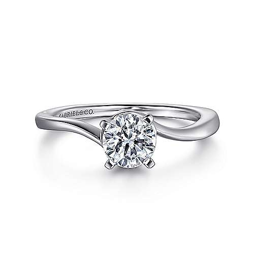 Blair 14k White Gold Round Solitaire Engagement Ring angle 1