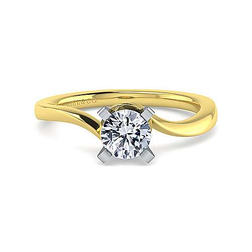 Gabriel - Blair 14k Yellow And White Gold Round Solitaire Engagement Ring