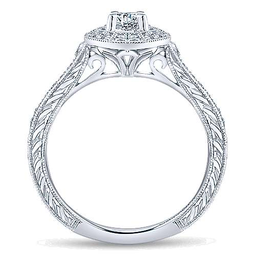 Blanca 14k White Gold Round Halo Engagement Ring angle 2