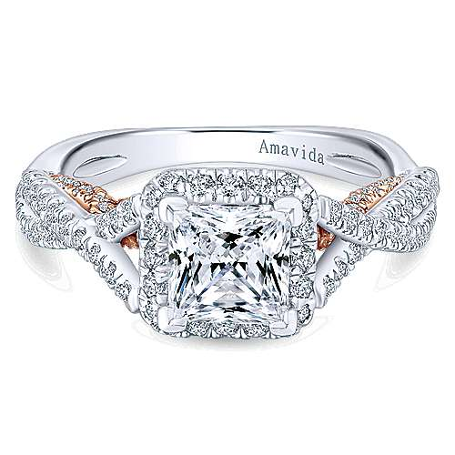Gabriel - Blanche 18k White And Rose Gold Princess Cut Halo Engagement Ring