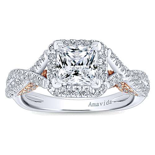 Blanche 18k White And Rose Gold Princess Cut Halo Engagement Ring angle 5