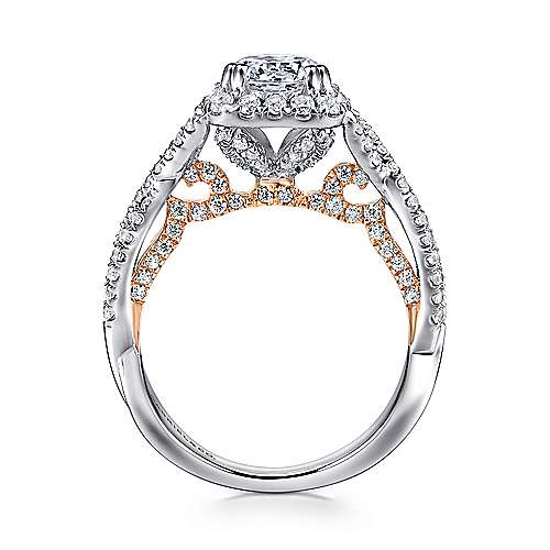 Blanche 18k White And Rose Gold Round Halo Engagement Ring