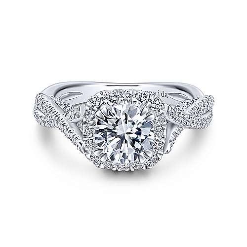 Gabriel - Blanche Platinum Round Halo Engagement Ring
