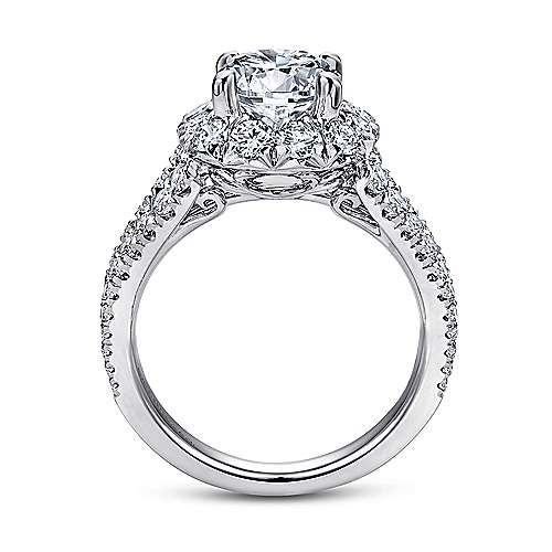 Bleecker 18k White And Rose Gold Round Halo Engagement Ring angle 2