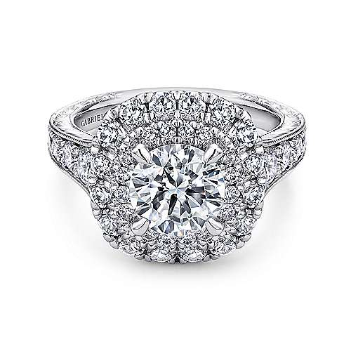 Gabriel - Bliss 14k White Gold Round Double Halo Engagement Ring