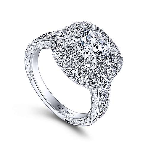 Bliss 18k White Gold Round Double Halo Engagement Ring angle 3