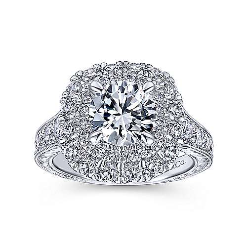 Bliss 18k White Gold Round Double Halo Engagement Ring angle 5