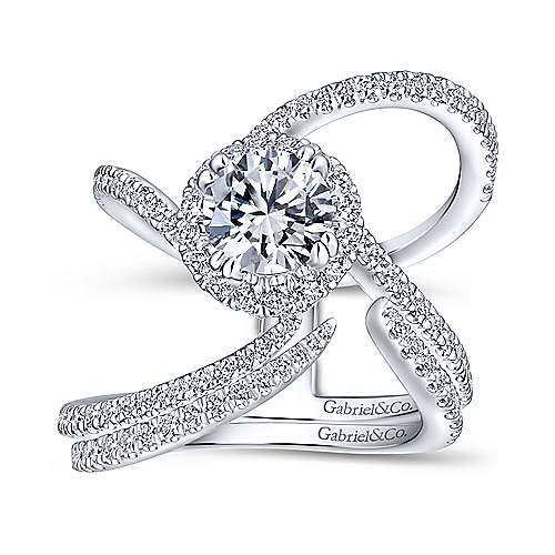 Bloom 18k White Gold Round Halo Engagement Ring angle 4