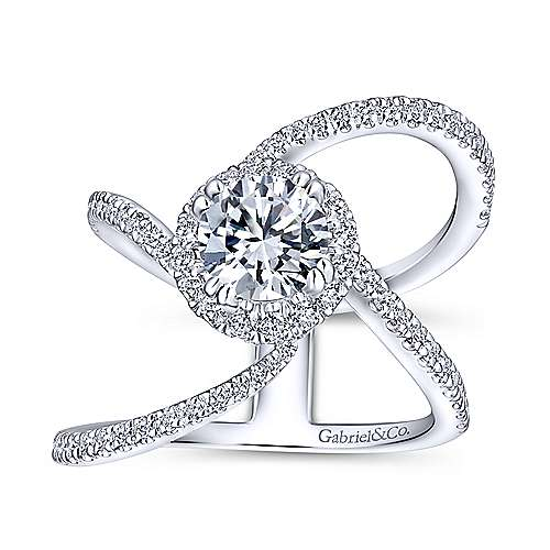 Bloom 18k White Gold Round Halo Engagement Ring angle 5
