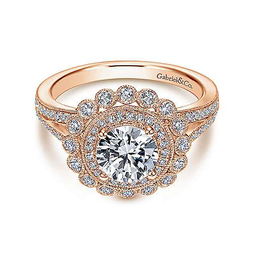 Gabriel - Bloomfield 14k Pink Gold Round Halo Engagement Ring