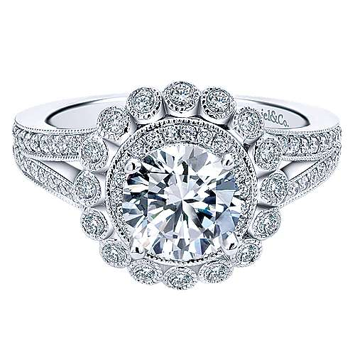 Gabriel - Bloomfield 14k White Gold Round Double Halo Engagement Ring