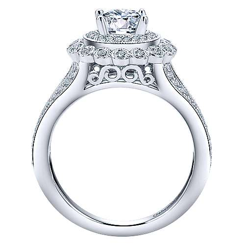 Bloomfield 14k White Gold Round Double Halo Engagement Ring angle 2