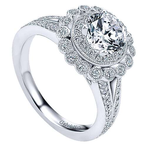 Bloomfield 14k White Gold Round Double Halo Engagement Ring angle 3