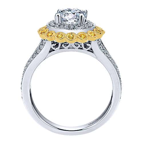 Bloomfield 14k Yellow And White Gold Round Double Halo Engagement Ring angle 2