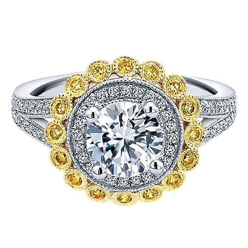 Gabriel - Bloomfield 14k Yellow/white Gold Round Double Halo Engagement Ring