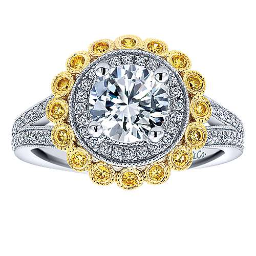 Bloomfield 14k Yellow/white Gold Round Double Halo Engagement Ring angle 5