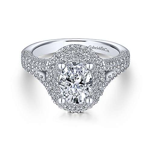 Gabriel - Bluebell 14k White Gold Oval Double Halo Engagement Ring