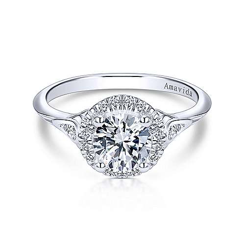 Gabriel - Boa 18k White Gold Round Halo Engagement Ring