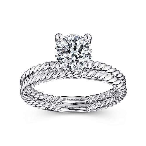 Bobbi 14k White Gold Round Solitaire Engagement Ring angle 4