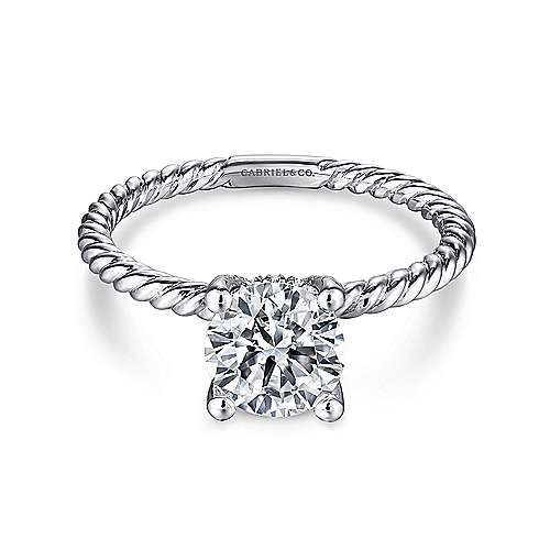 Gabriel - Bobbi 14k White Gold Round Straight Engagement Ring