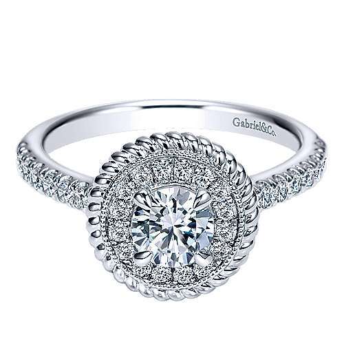 Gabriel - Bond 14k White Gold Round Halo Engagement Ring