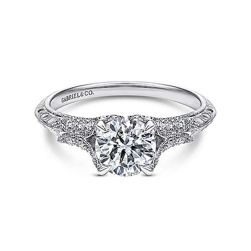Gabriel - Bonnie 18k White Gold Round Split Shank Engagement Ring