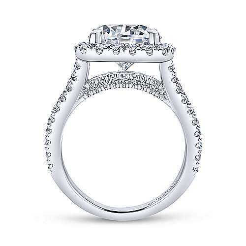 Bowery 18k White Gold Round Halo Engagement Ring angle 2