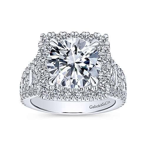 Bowery 18k White Gold Round Halo Engagement Ring angle 5