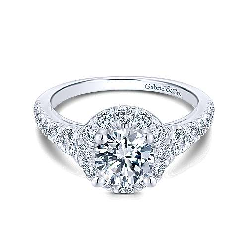 Gabriel - Bowie 14k White Gold Round Halo Engagement Ring