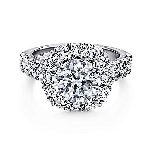 Gabriel - Brandy 14k White Gold Round Halo Engagement Ring