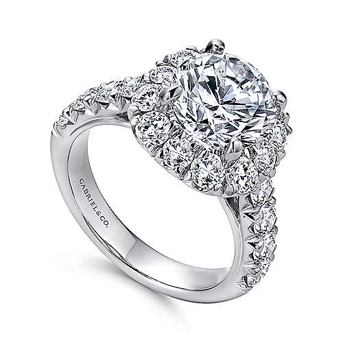 Brandy 14k White Gold Round Halo Engagement Ring angle 3