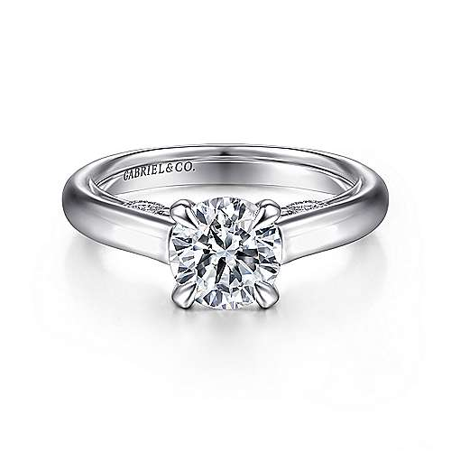Gabriel - Brave 18k White Gold Round Solitaire Engagement Ring