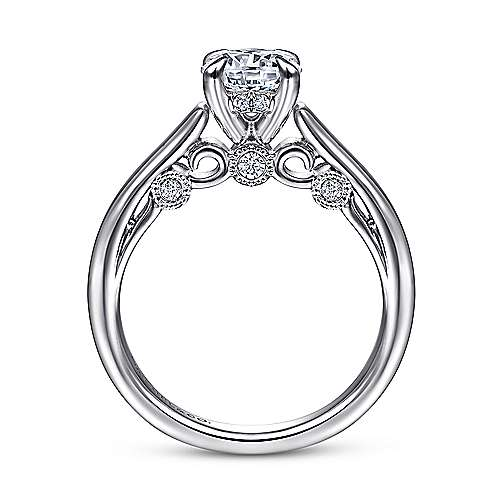 Brave 18k White Gold Round Solitaire Engagement Ring angle 2