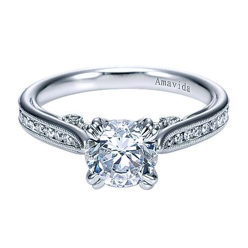Gabriel - Bravo 18k White Gold Round Straight Engagement Ring