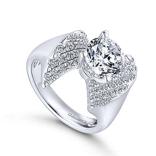 Breeze 14k White Gold Round Bypass Engagement Ring angle 3