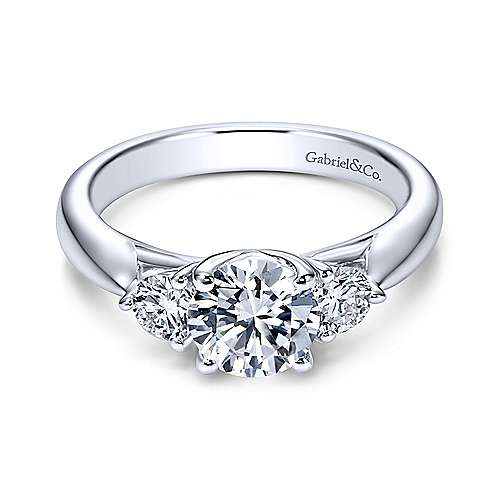 Gabriel - Brenna 14k White Gold Round 3 Stones Engagement Ring
