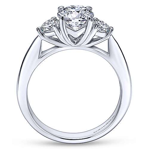 Brenna 14k White Gold Round 3 Stones Engagement Ring angle 2