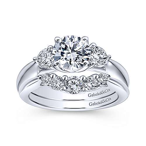 Brenna 14k White Gold Round 3 Stones Engagement Ring angle 4