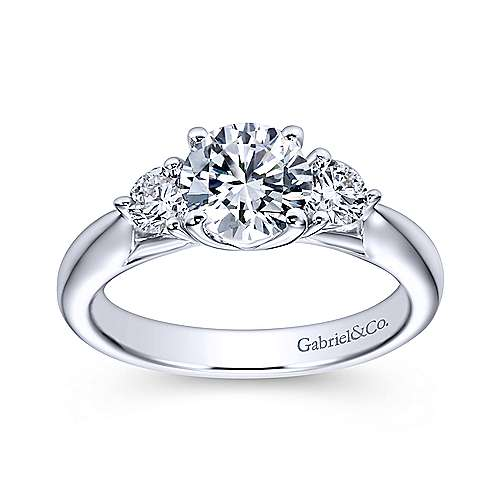 Brenna 14k White Gold Round 3 Stones Engagement Ring