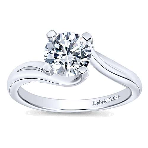 Bria 14k White Gold Round Bypass Engagement Ring angle 5