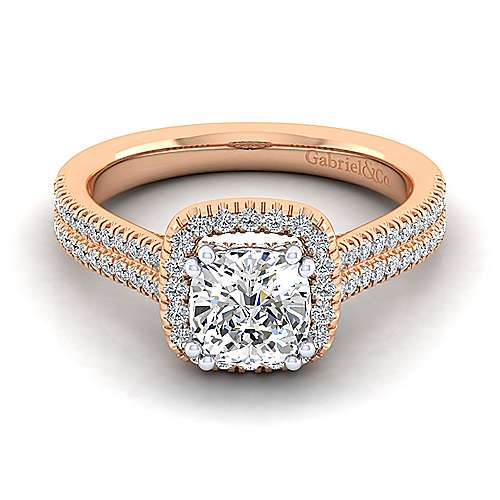 Brianna 14k White And Rose Gold Cushion Cut Halo Engagement Ring angle 1