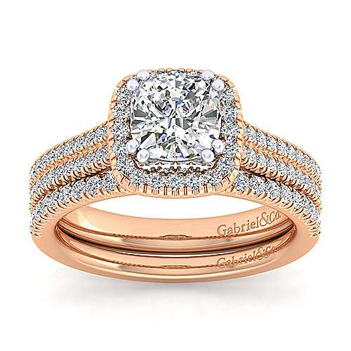 Brianna 14k White And Rose Gold Cushion Cut Halo Engagement Ring angle 4