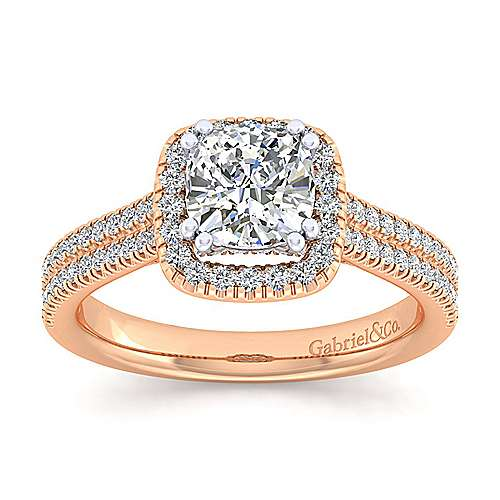 Brianna 14k White And Rose Gold Cushion Cut Halo Engagement Ring angle 5